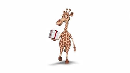 giraffa : Giraffa personaggio divertente 3D. 2 loop video - su sfondo e su Alpha Channel
