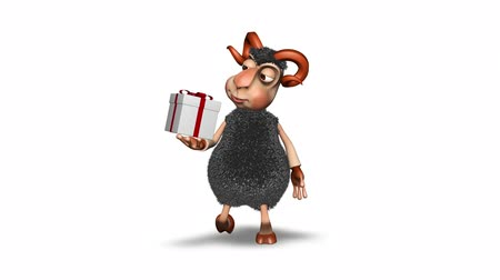 cordeiro : Sheep 3D Fun Character. 2 Video Loops - on Background and on Alpha Channel