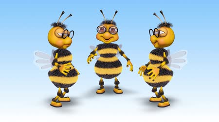 wasp : Bee 3D Fun Character - 2 Video Loops - on Background and on Alpha Channel