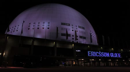 арена : Stockholm Globe arena at night Стоковые видеозаписи