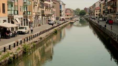 milan : Canal in Milan Stock Footage
