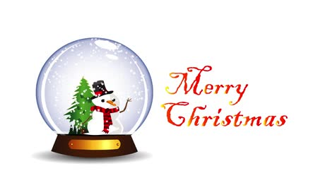 snow globe : animation of snow globe with snowman