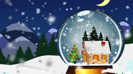рождественская елка : Christmas Snow globe Snowflake with Snowfall