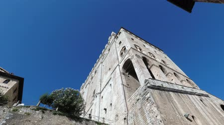 brickwall : View from below of Palazzo Consoli, one of the symbolic monuments of the Umbrian city