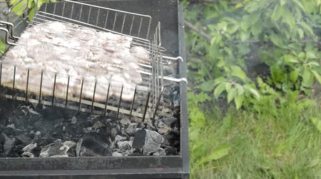 roston sült : Prepare a barbecue of meat on the grill. He turns out to be on a picnic on a sunny summer day. Appetizing meat and smoke from the coals create a good mood Stock mozgókép