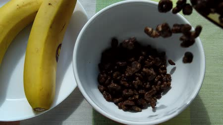 banan : Sweet chocolate flakes are poured into a white bowl for a nutritious Breakfast, next to the plate are bananas, sunlight, in the morning. Wideo