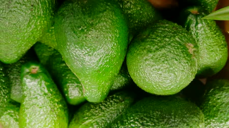 Avocados are a LOT of FRUIT lying ON the COUNTER IN a VEGETABLE STORE. 4K VIDEO. the movement from the top