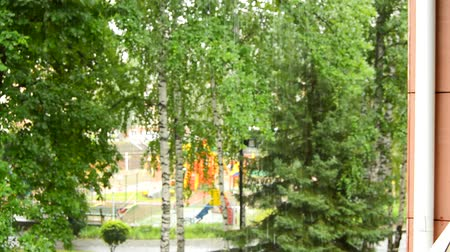 plac zabaw : Selective focus on calm rain, large drops falling against the background of trees in the Park, view from the balcony on a cloudy summer day, HD quality Wideo