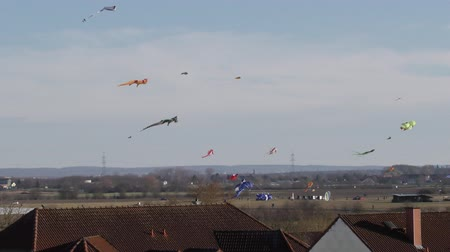 marco internacional : kites soar over the roofs of houses
