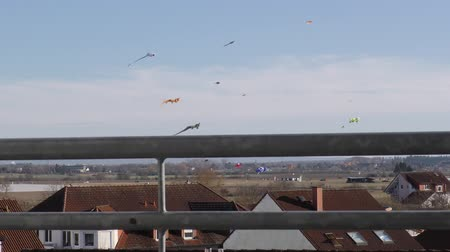 marco internacional : kites soar over the roofs of houses. the view from the balcony