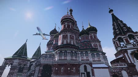 moskwa : Plane passing at The Cathedral of Vasily the Blessed in Moscow, Russia footage. Wideo
