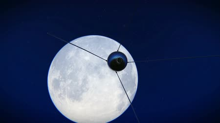 cccp : Satellite Sputnik flying over the moon footage Stock Footage