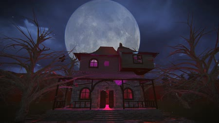 fantasma : Halloween witch flying on her broom over the haunted house with a full moon background footage