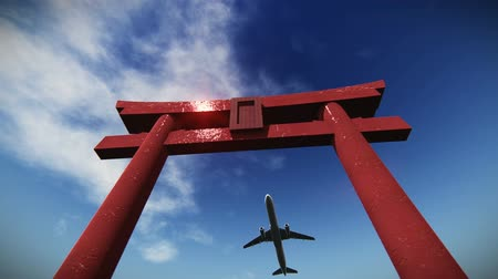 суеверие : Airplane flying over the torii gate video- Japanese Ceremonial