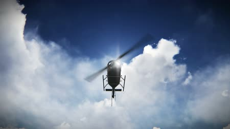 diurnal : Helicopter taking off with the sun and clouds background footage. Chopper flying with the sun and clouds background video Stock Footage