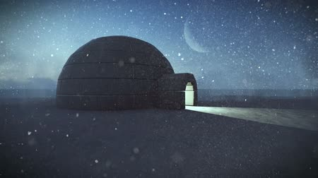 igloo : Igloo isolated in the snow at night footage Stock Footage