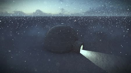 igloo : Igloo isolated on a glacier with falling snow video animation Stock Footage