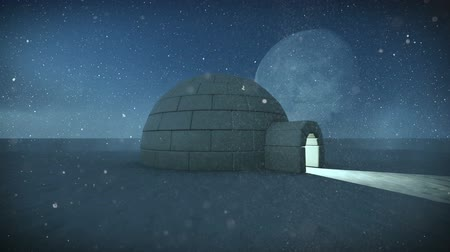 backgroundpictures : Igloo isolated in the snow at night with full moon background footage