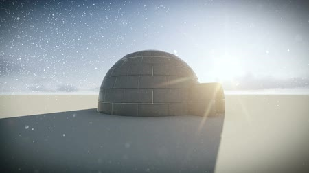 igloo : Igloo isolated on a glacier with falling snow and the sun background video Stock Footage