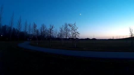 enrolamento : Evening sunset footage in a city park, with peaceful, calm conditions. Large grass areas and gardens. Tree branches moving lightly in the breeze. Bright stars and planets, standing on the winding path. Picture perfect postcard.