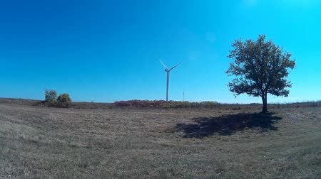 venkovský : Natural landscape with fields and trees. A wind turbine stands proud in the middle of the field.