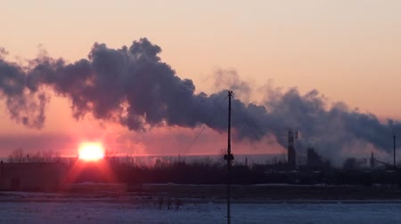 energetyka : industrial landscape smoke from the chimneys plant in winter