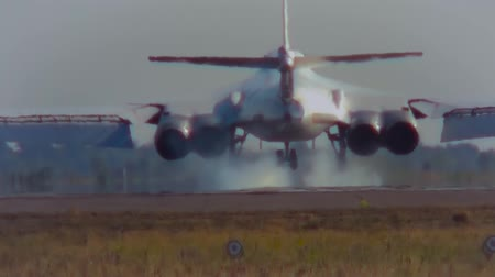 bomber : The Tu-160 performs landing rear view Stock Footage