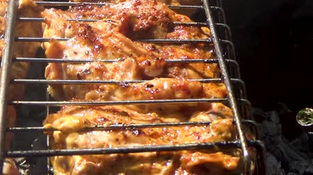shish kebab : Pieces of chicken are cooked on the grill