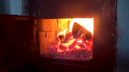 wood burner : Wood burning in the hearth furnace Stock Footage