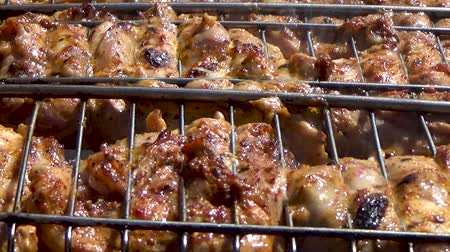 shish : Pieces of chicken cooked on the coals Stock Footage