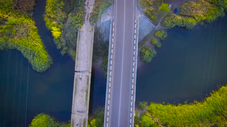 dark island : Two bridges across the same river Stock Footage