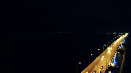 casco : Yellow and blue lights of the bridge