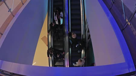 pictograma : People ride the escalator Stock Footage