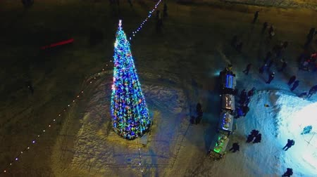 firecrackers : Christmas tree in the lights Stock Footage