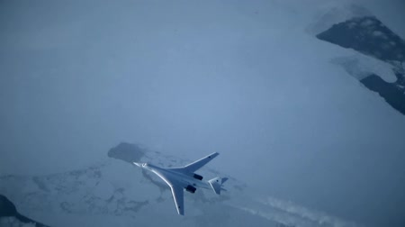 bomber : The plane flies over permafrost Stock Footage