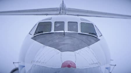 фюзеляж : The snowy cabin of the aircraft Стоковые видеозаписи