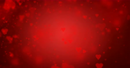 heart shaped : Seamless loop of red heart-shaped particles