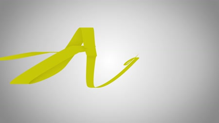 fitas : Single flowing ribbon of yellow color, seamless loop animation with alpha matte
