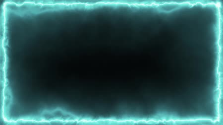 Animated loopable square frame of pale blue fractal beams