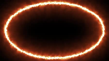 Animated loopable ring of flaming solar fractal beams Stok Video