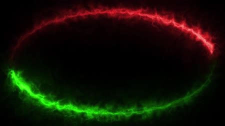 Animated loopable ring of two colors energy beams - red and green