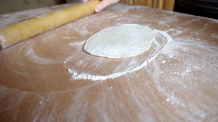 Woman hands close-up making pizza dough Stok Video