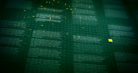 пункт : Lines of text on dark green background with shallow DOF featured thin crosses and dots textures with orange particles seamless loop animation with camera movement
