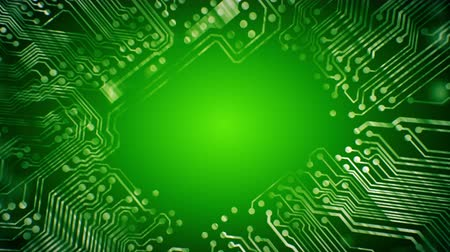 treading : Green PCB Printed Circuit Board tunnel animated background 4K video VJ clip, seamless loop. Stock Footage