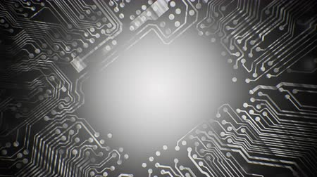 komputer stacjonarny : Grey PCB Printed Circuit Board tunnel animated background 4K video VJ clip, seamless loop. Wideo