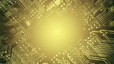 treading : Yellow gold PCB Printed Circuit Board tunnel animated background 4K video VJ clip, seamless loop. Stock Footage