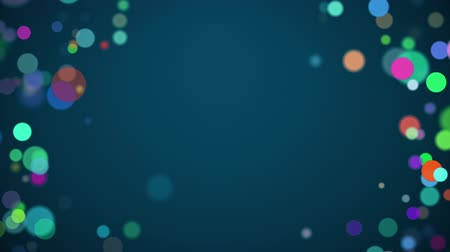 Colorful circles rainbow loopable background for centered text on blue. Stok Video
