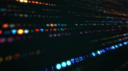The closeup of running rows of colorful cryptocurrency logo seamless loop