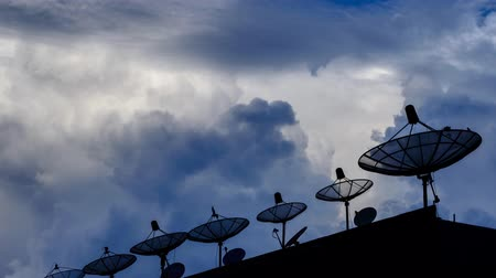 dish : Time Lapse Silhouette Satellite Dish And Sky Background Stock Footage