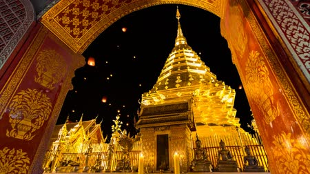 festivais : Wat Phra That Doi Suthep Famous Temple of Chiang Mai Thailand (and fire lantern background)